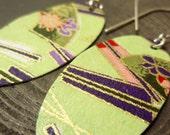 Pale Green Asian Print Oval Earrings
