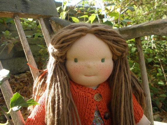 "Waldorf Girl Doll Handmade 16"" cloth doll"