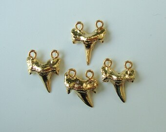 Shark Tooth Pendant, Real Shark Tooth 24K Gold Dipped, Double Bail Shark Tooth in Gold, Electroplated, bulk 4 pcs -  Medium - 20-30mm