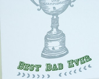 SALE - Letterpress Father's Day Card - Trophy Dad - 60% off