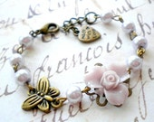 Children Jewelry Flower Girl Gift Baby Girl Jewelry Lavender Pearl Bracelet Flower Girl Jewelry Wedding Gift For Girl Butterfly Bracelet