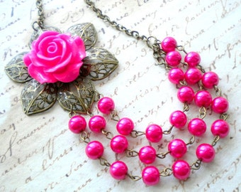 Fuschia Necklace Flower Necklace Pink Wedding Jewelry Multi Strand Pearl Statement Necklace Rose Bib Necklace Hot Pink Necklace
