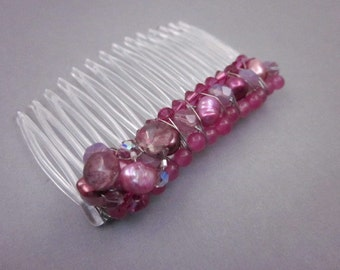 Pink Hair Comb -- Beaded Hair Comb -- Embellished Hair Comb -- Pink Hair Accessory