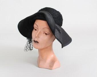 Vintage 1930s Hat : 30s Black Straw Floppy Hat