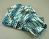 Handmade Fingerless Gloves Handwarmers Denim Cream Tan SRA Crochet Ladies