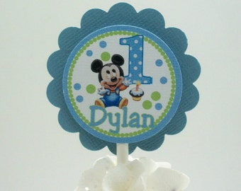 Baby Mickey Mouse 1st  Birthday Blue and Green Cupcake Toppers Set of 12 Personalized