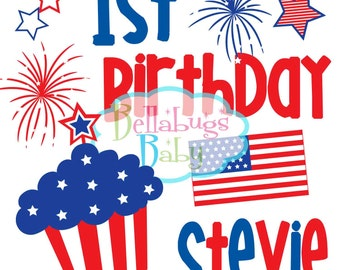 First Birthday Patriotic Bib - My First Birthday - 4th of July