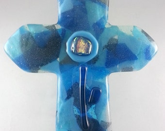 1408 grey aqua blue fused glass CROSS with flower decor 1408