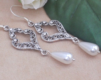 Earrings Silver Rhinestone White Teardrop Pearl Wedding Dangle Earrings