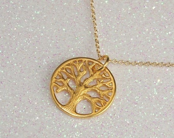 Gold Tree of Life Pendant Necklace, Free US Shipping