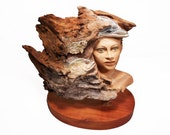 Her Water World Original Rick Cain Wood Woman and Dolphin Sculpture 2014