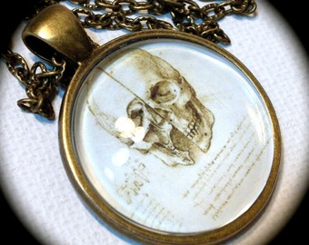 SKULL . Glass Pendant Necklace . ART . Leonardo da VINCI . GirlGameGeek