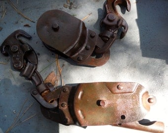 Lot Of Two Antique Rope Pulleys With Slide Catches  (50 % OFF APPLIED)
