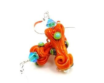 Colorful Orange Earrings, Free-Form Earrings, Lampwork Earrings, Glass Earrings, Glass Art Earrings, Beadwork Earrings, Unique Earrings