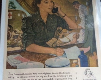 Western Electric WWII .Paul Rubut artist military ad 1944
