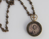 Madonna and Child Vintage Holy Card Soldered Necklace with Vintage Cross Heart Charm
