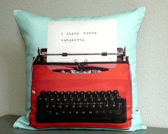 Personalized Typewriter Pillow - Pillow Cover - Decorative Pillow - Valentines Day -  Gift For Him - Gift For Her - Custom