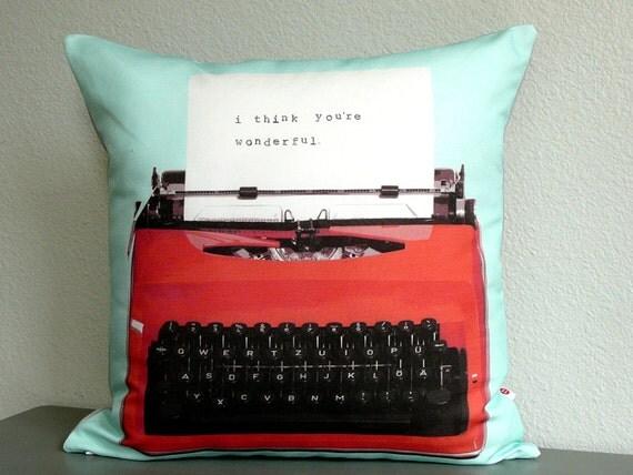 Personalized Typewriter Pillow - Pillow Cover - Journalist Gift - Decorative Pillow - Custom - Anniversary - Typewriter