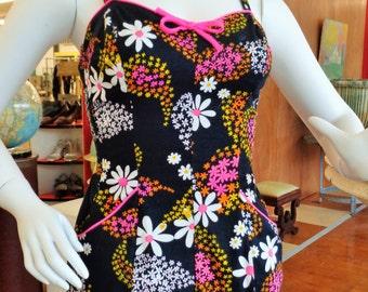 Vintage 1950s 60s Black Floral Swimsuit Romper  Sz S M