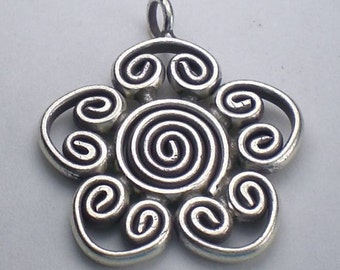 Stunning Large Fine Silver Spiral Flower Pendant Karen Hill Tribe Pendant 25mm HT-201