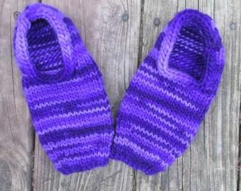 Purple Wool Blend Handknit Slippers size women's small