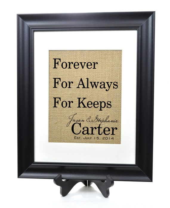 Personalized Family Name Burlap Print Forever Established Family Sign 14x17 Frame and Mat included