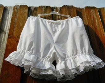 Plus size White bloomers with white lace Ready to ship 2x