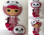 Pink Sugar Skull Doll Day of the Dead Plush