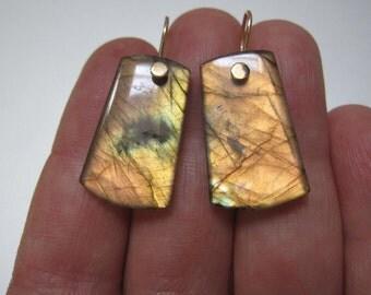 Labradorite Drops Solid 14k Gold Earrings