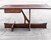 Live Edge Cantilever Desk - Solid Reclaimed Hardwood Walnut Cherry Elm Customized - Handcut Dovetails - Handmade in USA - Organic Design