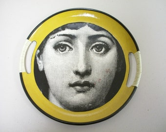 "Repurposed Upcycled Vintage Pressboard Tray with ""Face"" Image"