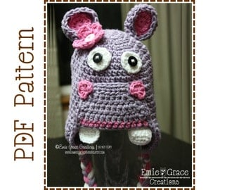 Hippopotamus Hat Crochet Pattern, Ear Flap, HUNGRY HUNGRY HIPPO - pdf 108
