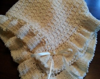 Crocheted Christening Baby Blanket Afghan  Ivory with Ivory Ribbons