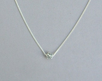 Silver Flower Bead Necklace