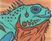 Original Colorful Blue Iguana Acrylic Painting on Poplar Wood