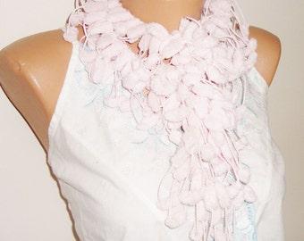 Pastel Pink Scarf / Pom pom scarf  / woman scarf / Gift Under 10