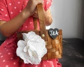 Small Rustic Flower Girl Basket with PersonalizedTag Rustic Wedding Flower Girl with Hydrangeas and Chalkboard or Wood Burned Tag