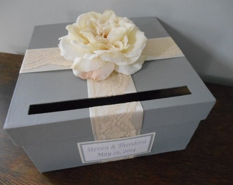 Gray Wedding Card Box with Ivory Lace satin ribbon and Ivory Open Rose with Custom Tag You customize colors and flowers