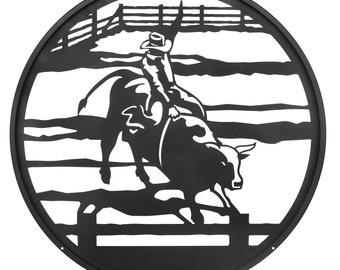 Hand Made Bull Rider Cowboy Horse Scenic Art Wall Design *NEW*