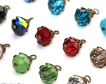 Set of 4 Bead Drop Charms with Antique Brass Filigree Pendants Earrings Glass Crystals