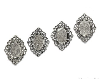 Set of 4 Antique Silver Base Metal Oval with Filigree....Connector.....Pendant...Cameo...Cab Flower....Frame Settings...Oval 16x12mm 32x25mm