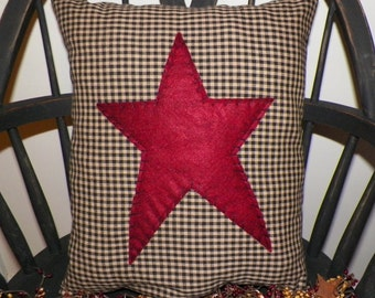 UNSTUFFED Primitive Pillow Cover Barn Star Prim Country Rustic Home Decor Decoration Stitchery Early Colonial Style Farmhouse wvluckygirl