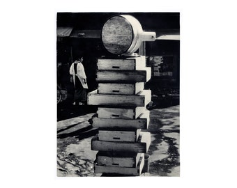 """Sheldon Brody """"Stacked Boxes"""" poster, c.1970.  Graphic design education by Reinhold Visuals"""