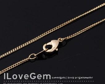NP-1455 Chain, Gold plated, 130 Curb chain, 16.5 inch, 2pcs