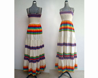 Vintage 70s Sundress // 70s Sun Dress Maxi in Rainbow Striped Muslin with Shirred Top & Spaghetti Straps XS