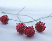 Four (4) Raspberry Millinery Berries with Wire and Leaf