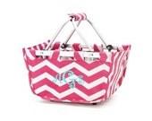 Pink Chevron Easter Basket Mini Market Tote FAST SHIP MOTHERS Day graduation teacher