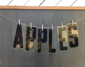 Vintage Advertisement Sign Letters - APPLES