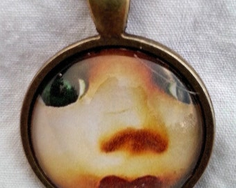CLEARANCE Sweet Antique Doll Face Glass Cameo pendant with chain
