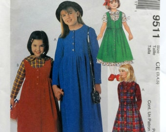 McCall's 9511, Girls' Dress and Jumper Pattern, Sewing Pattern, Size 3 thru 5, Uncut